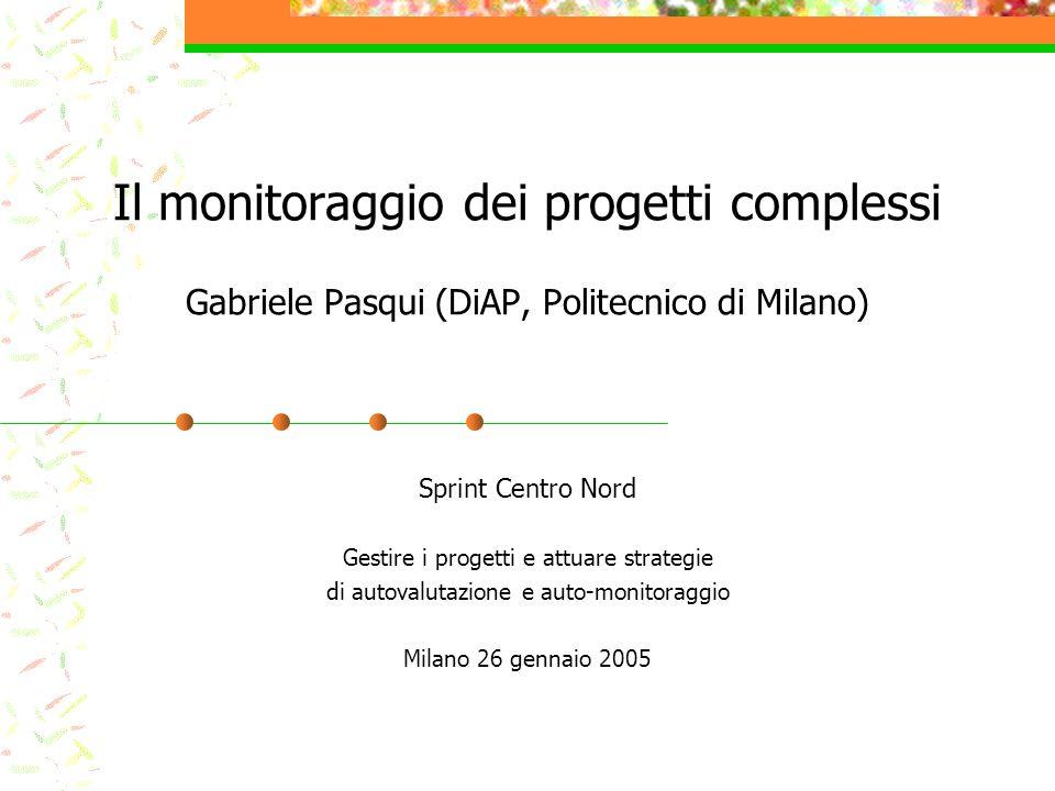 Il monitoraggio dei progetti complessi Gabriele Pasqui (DiAP, Politecnico di Milano) Sprint Centro Nord Gestire i progetti e attuare strategie di auto