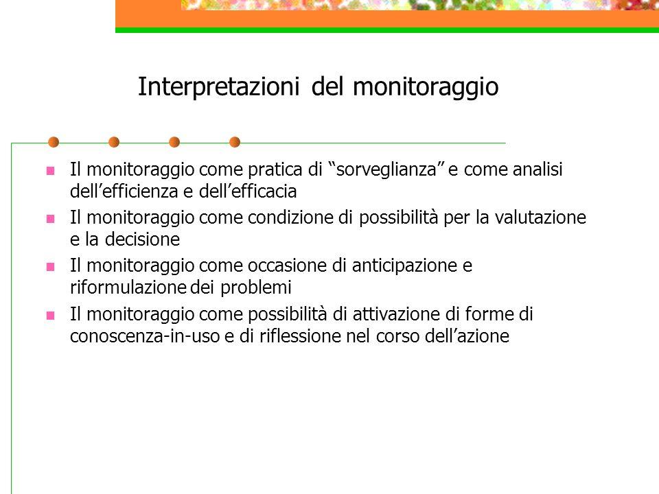 Interpretazioni del monitoraggio Il monitoraggio come pratica di sorveglianza e come analisi dellefficienza e dellefficacia Il monitoraggio come condi