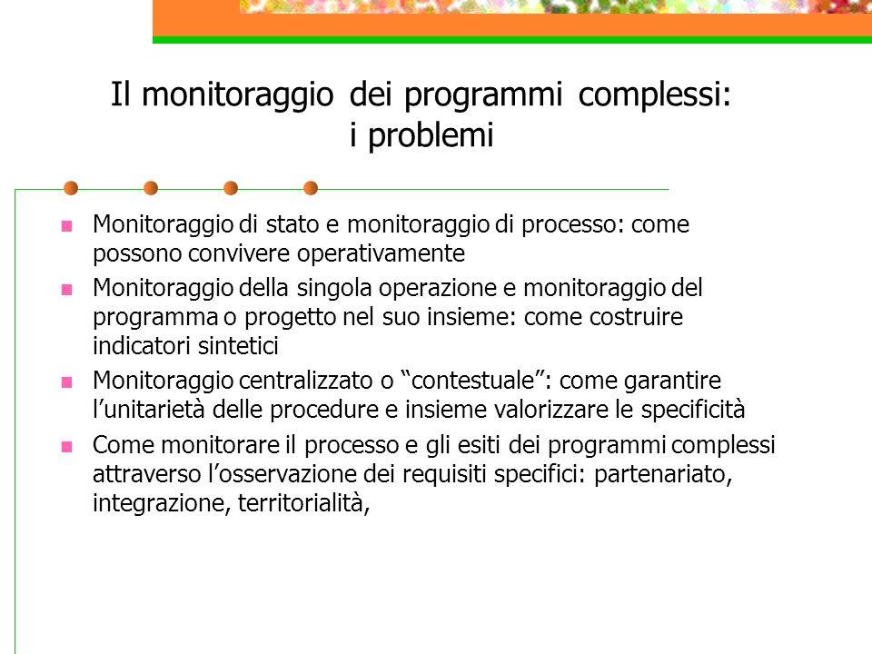 Il monitoraggio dei programmi complessi: i problemi Monitoraggio di stato e monitoraggio di processo: come possono convivere operativamente Monitoragg