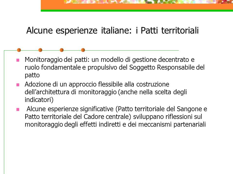 Alcune esperienze italiane: i Patti territoriali Monitoraggio dei patti: un modello di gestione decentrato e ruolo fondamentale e propulsivo del Sogge