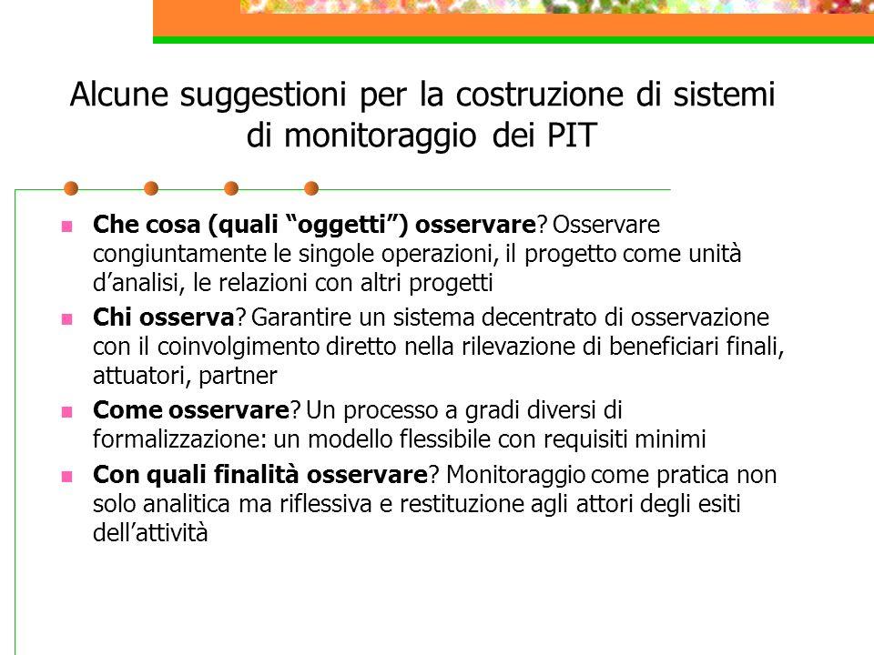 Alcune suggestioni per la costruzione di sistemi di monitoraggio dei PIT Che cosa (quali oggetti) osservare? Osservare congiuntamente le singole opera