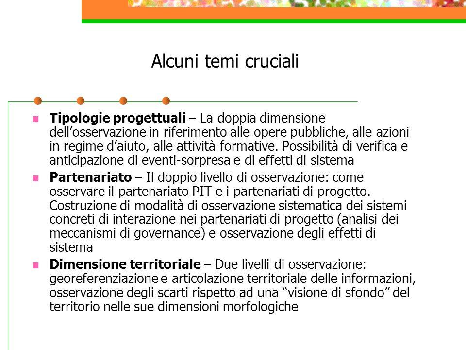 Alcuni temi cruciali Tipologie progettuali – La doppia dimensione dellosservazione in riferimento alle opere pubbliche, alle azioni in regime daiuto,