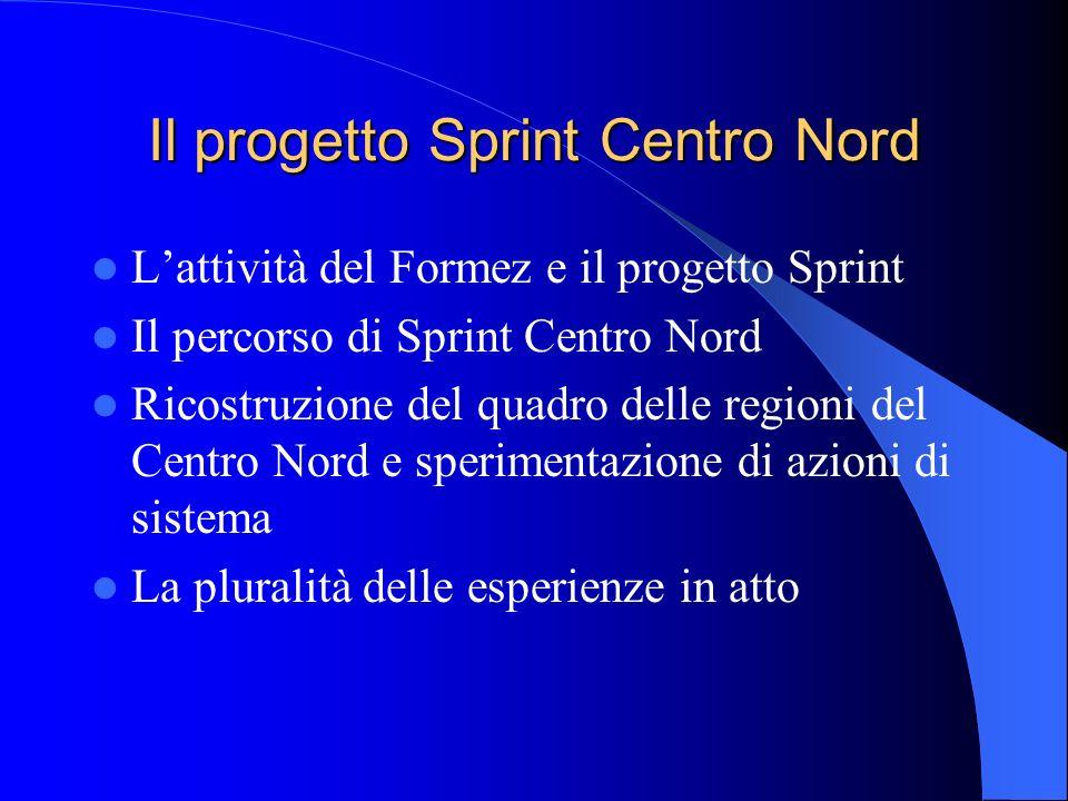 Il progetto Sprint Centro Nord Lattività del Formez e il progetto Sprint Il percorso di Sprint Centro Nord Ricostruzione del quadro delle regioni del
