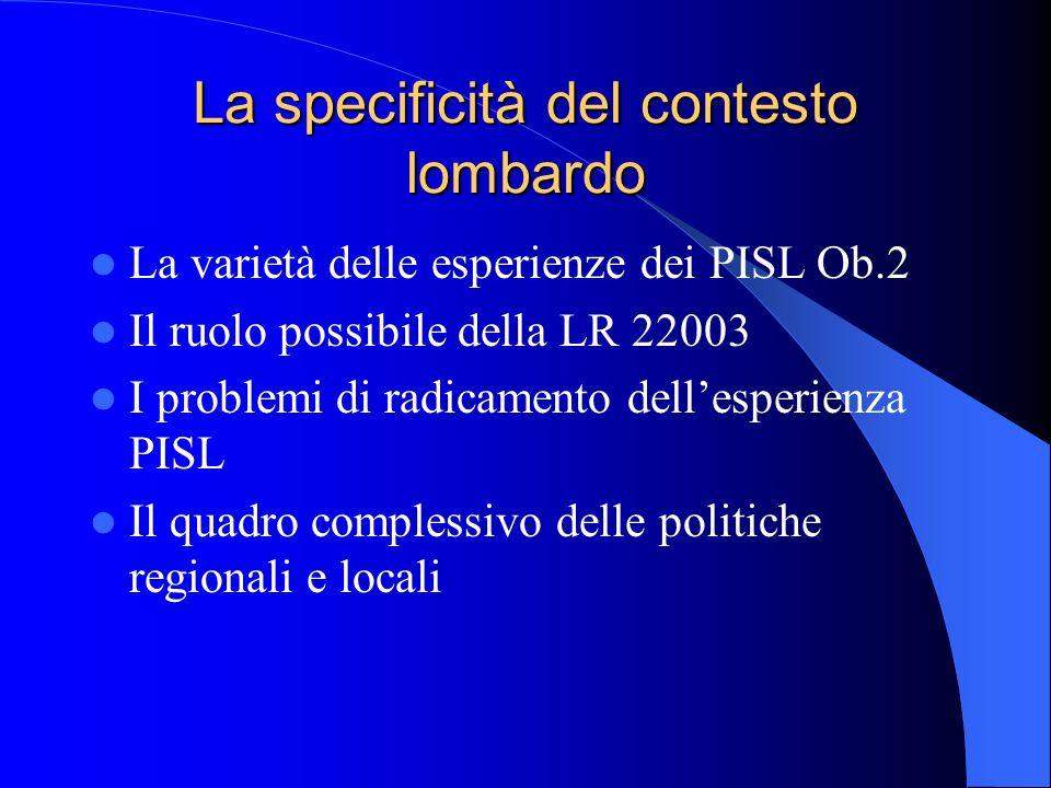 La specificità del contesto lombardo La varietà delle esperienze dei PISL Ob.2 Il ruolo possibile della LR 22003 I problemi di radicamento dellesperie