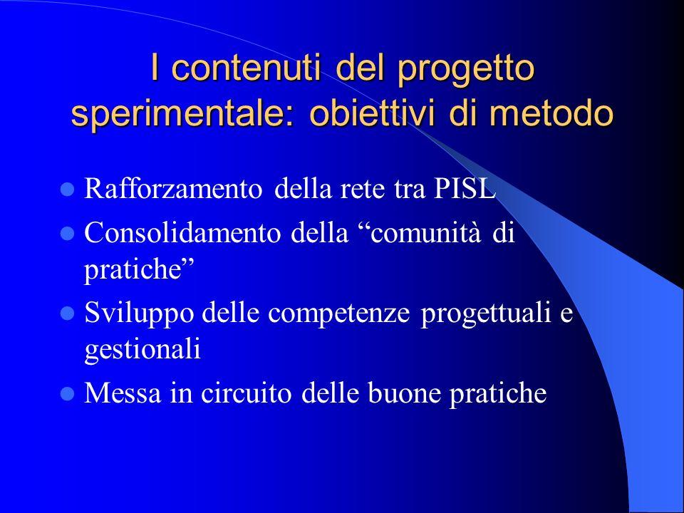 I contenuti del progetto sperimentale: obiettivi di metodo Rafforzamento della rete tra PISL Consolidamento della comunità di pratiche Sviluppo delle