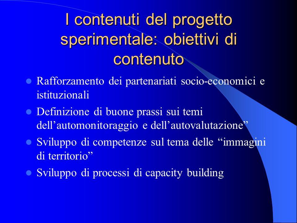 I contenuti del progetto sperimentale: obiettivi di contenuto Rafforzamento dei partenariati socio-economici e istituzionali Definizione di buone pras
