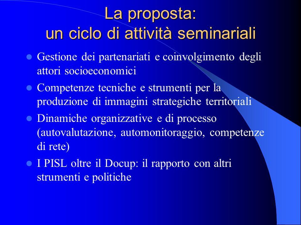 La proposta: un ciclo di attività seminariali Gestione dei partenariati e coinvolgimento degli attori socioeconomici Competenze tecniche e strumenti p