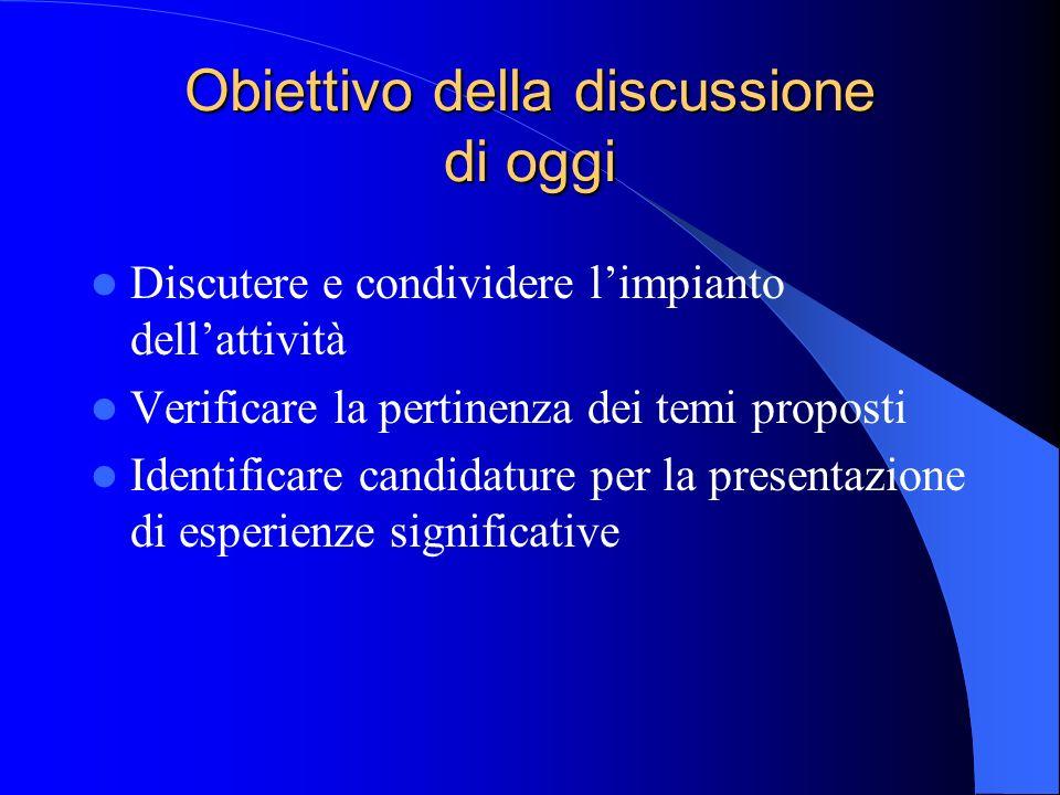 Obiettivo della discussione di oggi Discutere e condividere limpianto dellattività Verificare la pertinenza dei temi proposti Identificare candidature