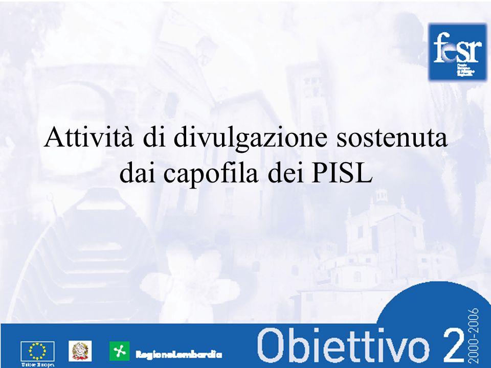 Attività di divulgazione sostenuta dai capofila dei PISL
