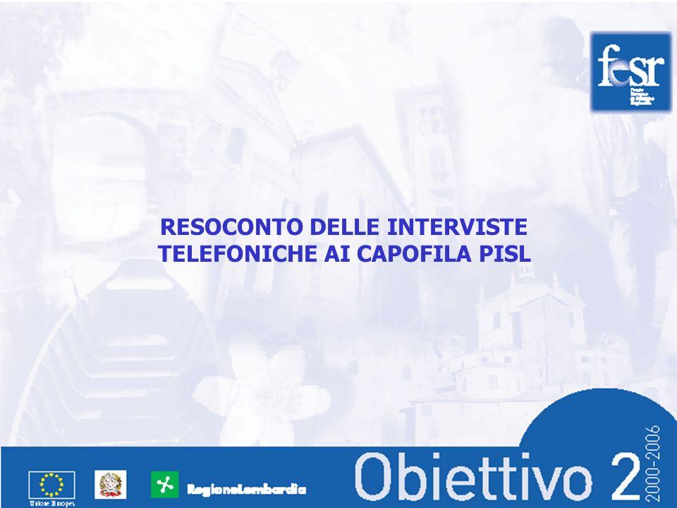 RESOCONTO DELLE INTERVISTE TELEFONICHE AI CAPOFILA PISL