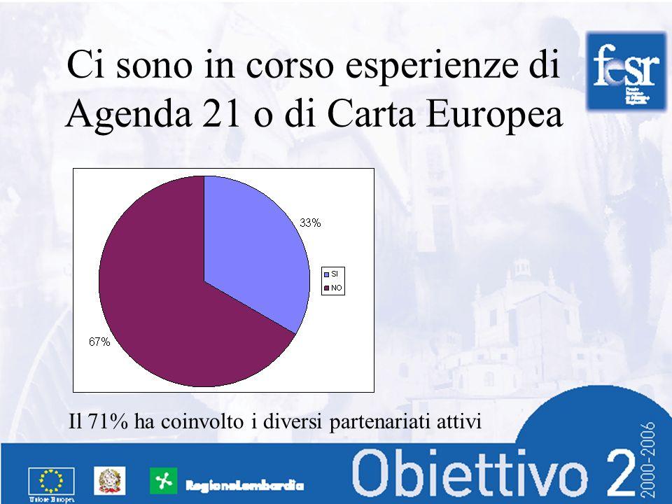 Ci sono in corso esperienze di Agenda 21 o di Carta Europea Il 71% ha coinvolto i diversi partenariati attivi