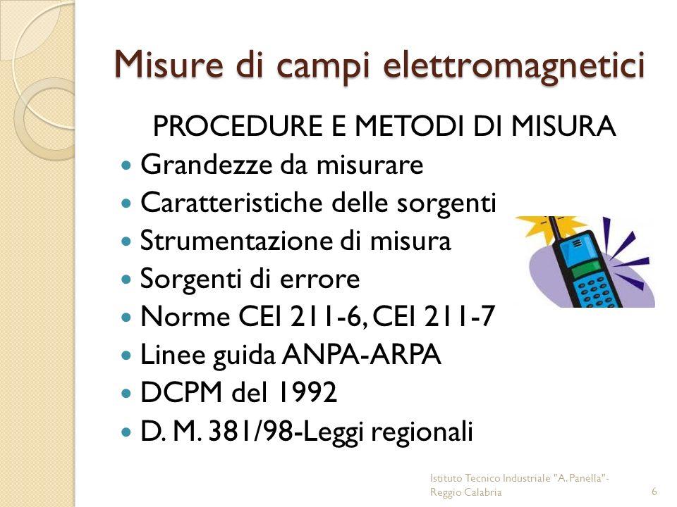 Spettri di frequenze DC Sistemi di trasporto su rotaie in Italia 16 2/3 Hz Treni/metro europei 50 Hz Impianti civili 3-30 KHz Trasmissioni marittime 30-300 KHz Trasmissioni navali Loran 300-3000 KHz Trasmissioni AM, Forni saldatrici a fusione 3-30 MHz Radioamatori, saldatrici, diatermia, essiccatori, sterilizzatori 30-300 MHz FM, VHF, cordless, radiomobili, CB 300 MHz-3 GHz Ponti radio, satellitari, radar, altimetri 30-300 GHz Satelliti, astronomia, spettroscopia Istituto Tecnico Industriale A.