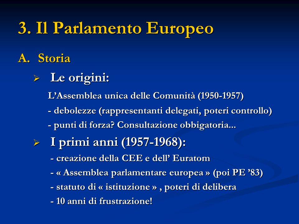 3. Il Parlamento Europeo A.Storia Le origini: Le origini: LAssemblea unica delle Comunità (1950-1957) - debolezze (rappresentanti delegati, poteri con