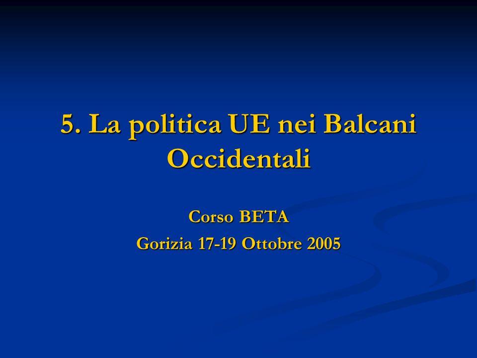 5.3 Croazia Presenta la domanda di adesione nel febbraio 2003 Presenta la domanda di adesione nel febbraio 2003 La Commissione europea adotta nellaprile 2004 parere e presenta la proposta di Decisione del Consiglio sul partenariato europeo con la Croazia La Commissione europea adotta nellaprile 2004 parere e presenta la proposta di Decisione del Consiglio sul partenariato europeo con la Croazia La Commissione, nel suo parere, raccomanda al Consiglio lapertura dei negoziati di adesione La Commissione, nel suo parere, raccomanda al Consiglio lapertura dei negoziati di adesione Il PE adotta parere conforme ad aprile 2004 Il PE adotta parere conforme ad aprile 2004