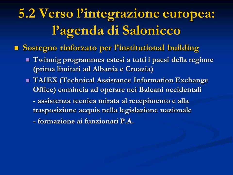 5.2 Verso lintegrazione europea: lagenda di Salonicco Sostegno rinforzato per linstitutional building Sostegno rinforzato per linstitutional building