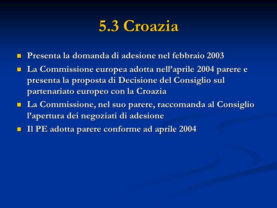 5.3 Croazia Presenta la domanda di adesione nel febbraio 2003 Presenta la domanda di adesione nel febbraio 2003 La Commissione europea adotta nellapri