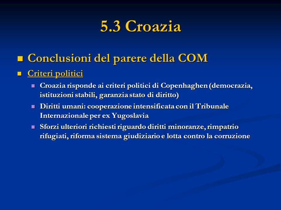 5.3 Croazia Conclusioni del parere della COM Conclusioni del parere della COM Criteri politici Criteri politici Croazia risponde ai criteri politici d