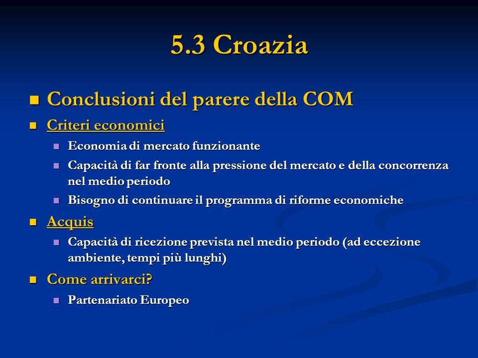 5.3 Croazia Conclusioni del parere della COM Conclusioni del parere della COM Criteri economici Criteri economici Economia di mercato funzionante Econ