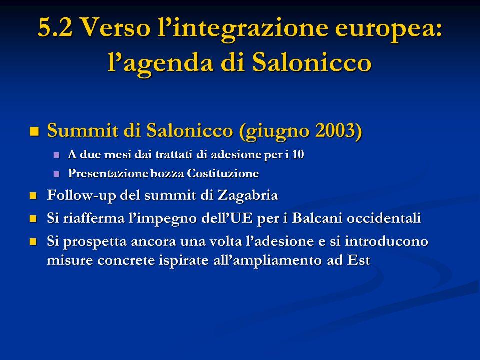 5.2 Verso lintegrazione europea: lagenda di Salonicco Summit di Salonicco (giugno 2003) Summit di Salonicco (giugno 2003) A due mesi dai trattati di a