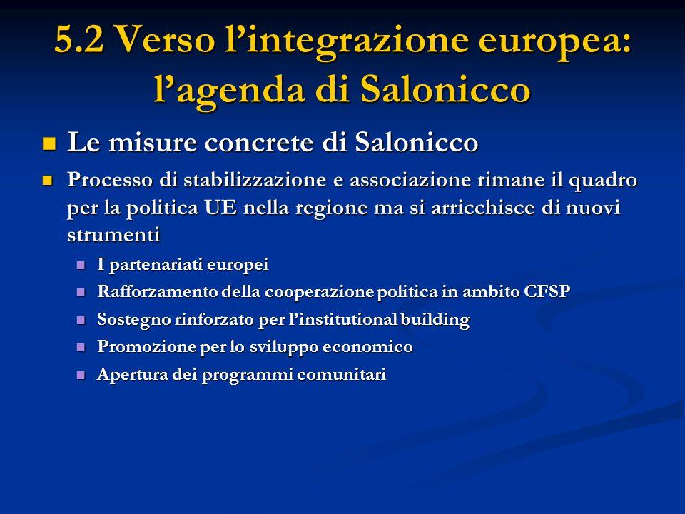 5.2 Verso lintegrazione europea: lagenda di Salonicco I Partenariati europei I Partenariati europei Identificano priorità e obblighi periodicamente Identificano priorità e obblighi periodicamente Assistenza finanziaria UE si basa su queste priorità Assistenza finanziaria UE si basa su queste priorità Ogni paese adotta piani dazione nazionali per attuare i partenariati Ogni paese adotta piani dazione nazionali per attuare i partenariati Rafforzamento della cooperazione politica in ambito CFSP Rafforzamento della cooperazione politica in ambito CFSP Lancio di un forum UE-Balcani occidentali (working groups) Lancio di un forum UE-Balcani occidentali (working groups) Associazione dei paesi della regione ad alcune dichiarazioni e posizioni comuni CFSP dellUE Associazione dei paesi della regione ad alcune dichiarazioni e posizioni comuni CFSP dellUE