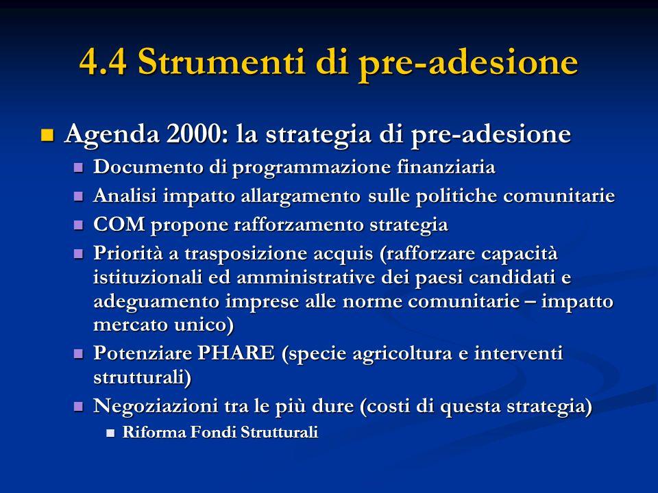 4.4 Strumenti di pre-adesione Agenda 2000: la strategia di pre-adesione Agenda 2000: la strategia di pre-adesione Documento di programmazione finanzia