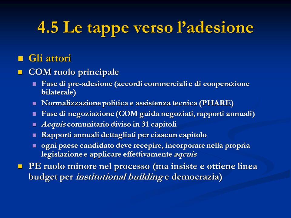 4.5 Le tappe verso ladesione Gli attori Gli attori COM ruolo principale COM ruolo principale Fase di pre-adesione (accordi commerciali e di cooperazio