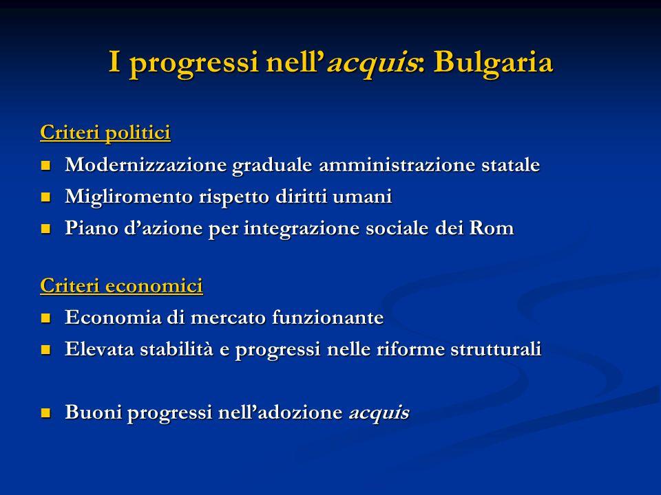 I progressi nellacquis: Bulgaria Criteri politici Modernizzazione graduale amministrazione statale Modernizzazione graduale amministrazione statale Mi