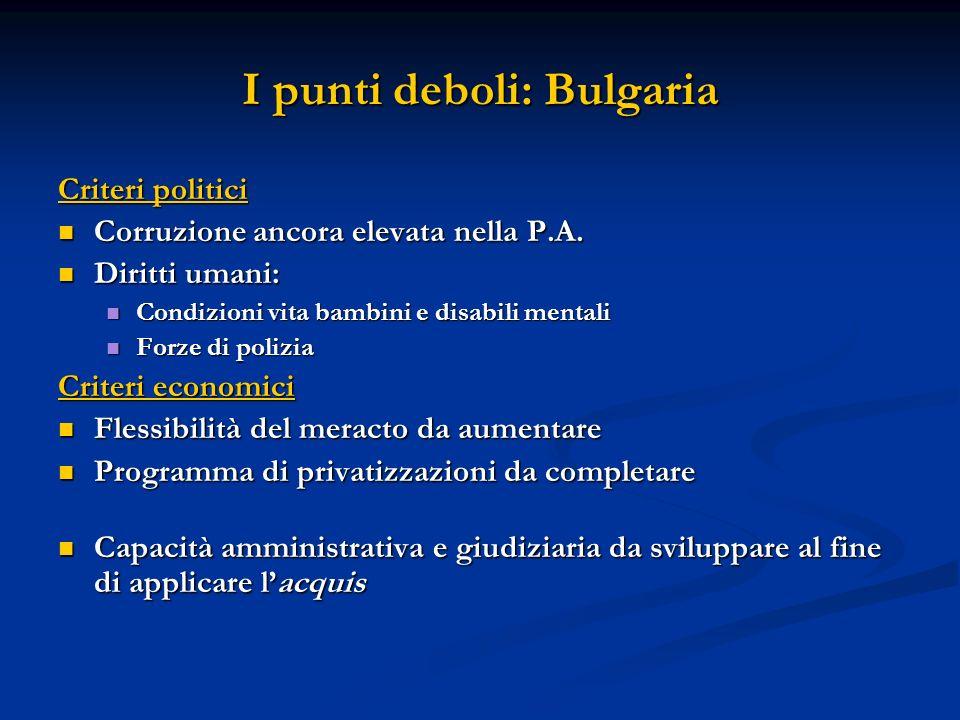 I punti deboli: Bulgaria Criteri politici Corruzione ancora elevata nella P.A. Corruzione ancora elevata nella P.A. Diritti umani: Diritti umani: Cond