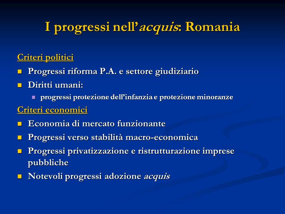I progressi nellacquis: Romania Criteri politici Progressi riforma P.A. e settore giudiziario Progressi riforma P.A. e settore giudiziario Diritti uma