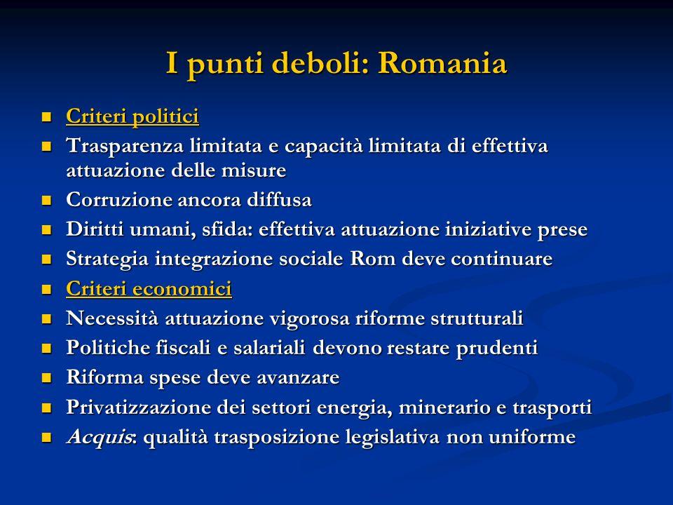 I punti deboli: Romania Criteri politici Criteri politici Trasparenza limitata e capacità limitata di effettiva attuazione delle misure Trasparenza li