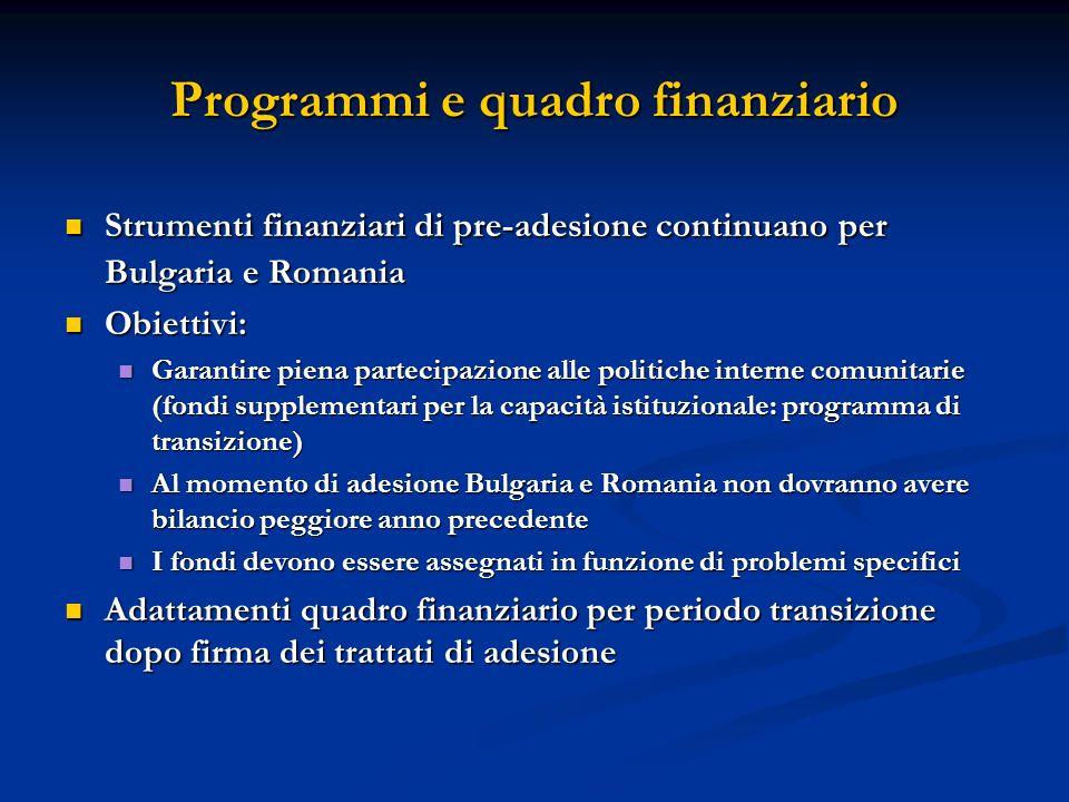 Programmi e quadro finanziario Strumenti finanziari di pre-adesione continuano per Bulgaria e Romania Strumenti finanziari di pre-adesione continuano