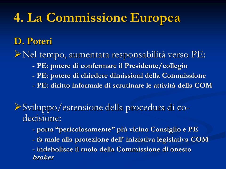 4. La Commissione Europea D. Poteri Nel tempo, aumentata responsabilità verso PE: Nel tempo, aumentata responsabilità verso PE: - PE: potere di confer