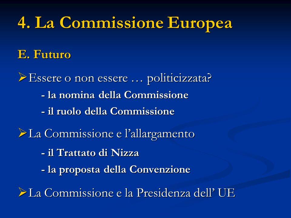 4. La Commissione Europea E. Futuro Essere o non essere … politicizzata? Essere o non essere … politicizzata? - la nomina della Commissione - il ruolo