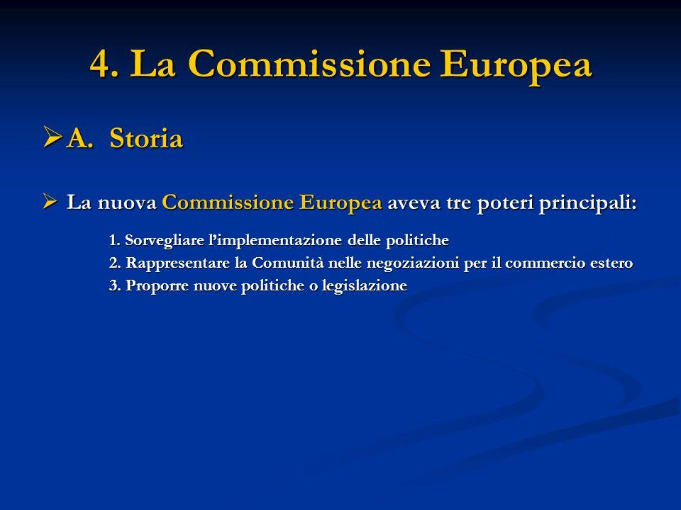 4. La Commissione Europea A. Storia A. Storia La nuova Commissione Europea aveva tre poteri principali: La nuova Commissione Europea aveva tre poteri