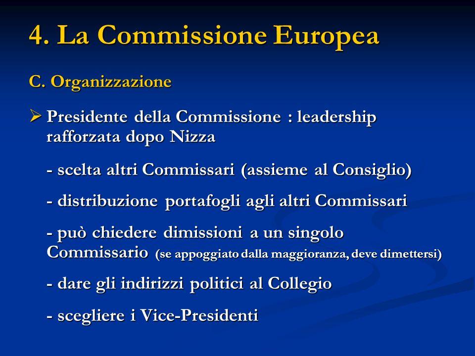 4. La Commissione Europea C. Organizzazione Presidente della Commissione : leadership rafforzata dopo Nizza Presidente della Commissione : leadership