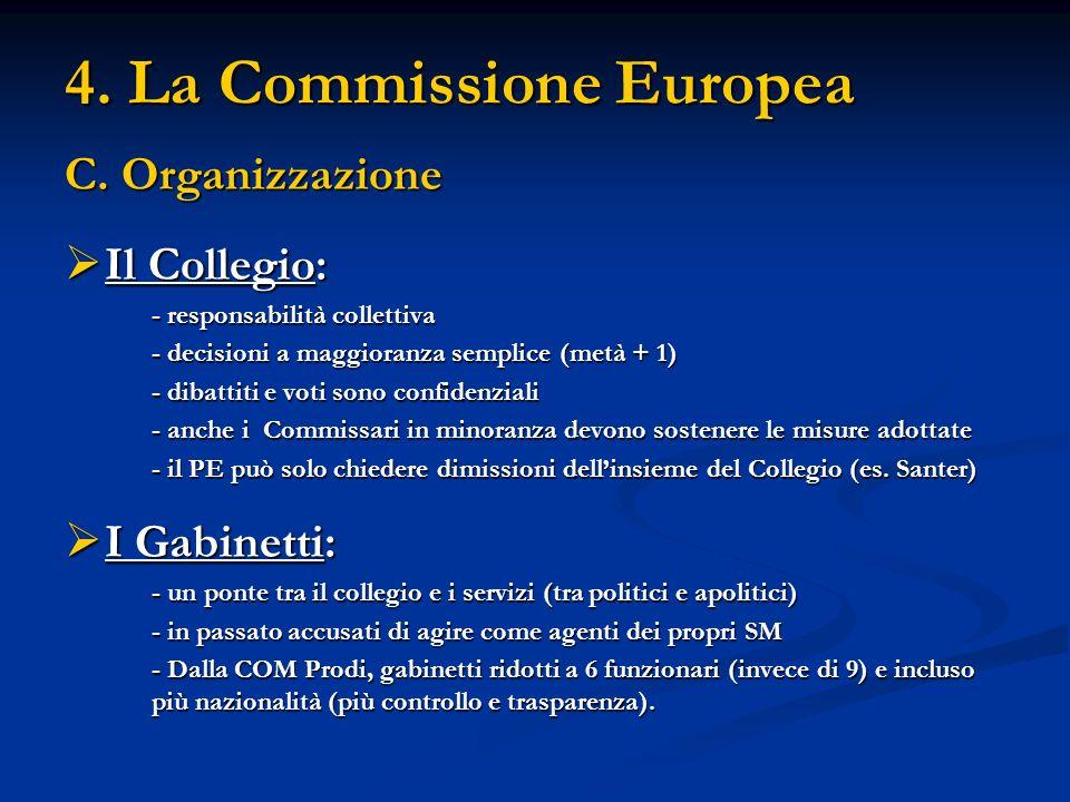 4. La Commissione Europea C. Organizzazione Il Collegio: Il Collegio: - responsabilità collettiva - decisioni a maggioranza semplice (metà + 1) - diba