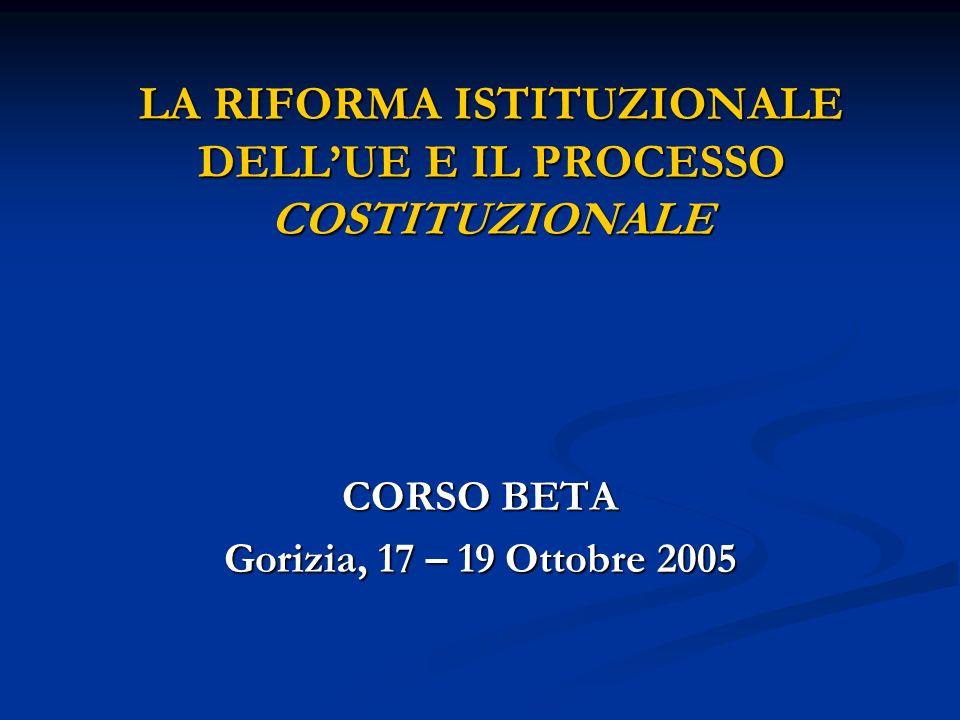 VERSO LA COSTITUZIONALIZZAZIONE DELLUNIONE (II) I principi della struttura costituzionale I principi della struttura costituzionale Fusione dellUnione e della Comunità europea, con unica personalità giuridica nel quadro della Costituzione Fusione dellUnione e della Comunità europea, con unica personalità giuridica nel quadro della Costituzione Fusione dei 3 pilastri Fusione dei 3 pilastri Diritti fondamentali: effetti giuridici vincolanti della Carta Diritti fondamentali: effetti giuridici vincolanti della Carta Principi fondamentali regolatori dei rapporti tra lUnione e gli Stati (attribuzione competenze, cooperazione leale, supremazia diritto dellUnione) Principi fondamentali regolatori dei rapporti tra lUnione e gli Stati (attribuzione competenze, cooperazione leale, supremazia diritto dellUnione)