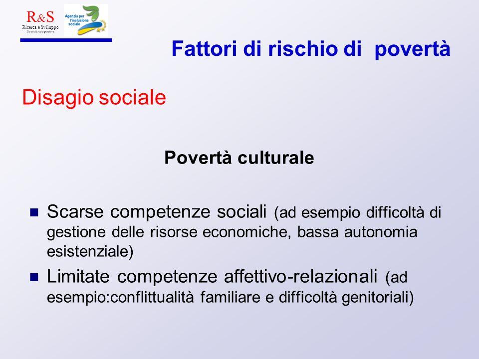 Povertà culturale Scarse competenze sociali (ad esempio difficoltà di gestione delle risorse economiche, bassa autonomia esistenziale) Limitate compet