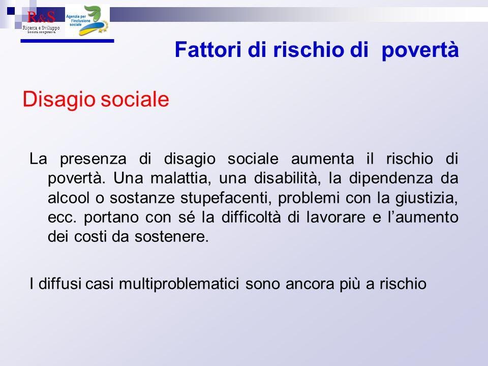 La presenza di disagio sociale aumenta il rischio di povertà.