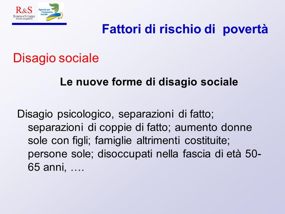 Le nuove forme di disagio sociale Disagio psicologico, separazioni di fatto; separazioni di coppie di fatto; aumento donne sole con figli; famiglie al