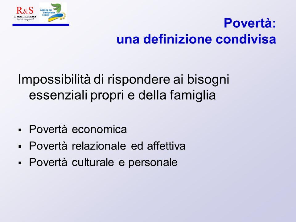 Povertà: una definizione condivisa Impossibilità di rispondere ai bisogni essenziali propri e della famiglia Povertà economica Povertà relazionale ed affettiva Povertà culturale e personale R & S Ricerca e Sviluppo Società cooperativa