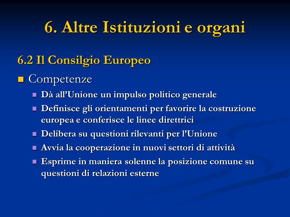 6. Altre Istituzioni e organi 6.2 Il Consilgio Europeo Competenze Competenze Dà allUnione un impulso politico generale Dà allUnione un impulso politic