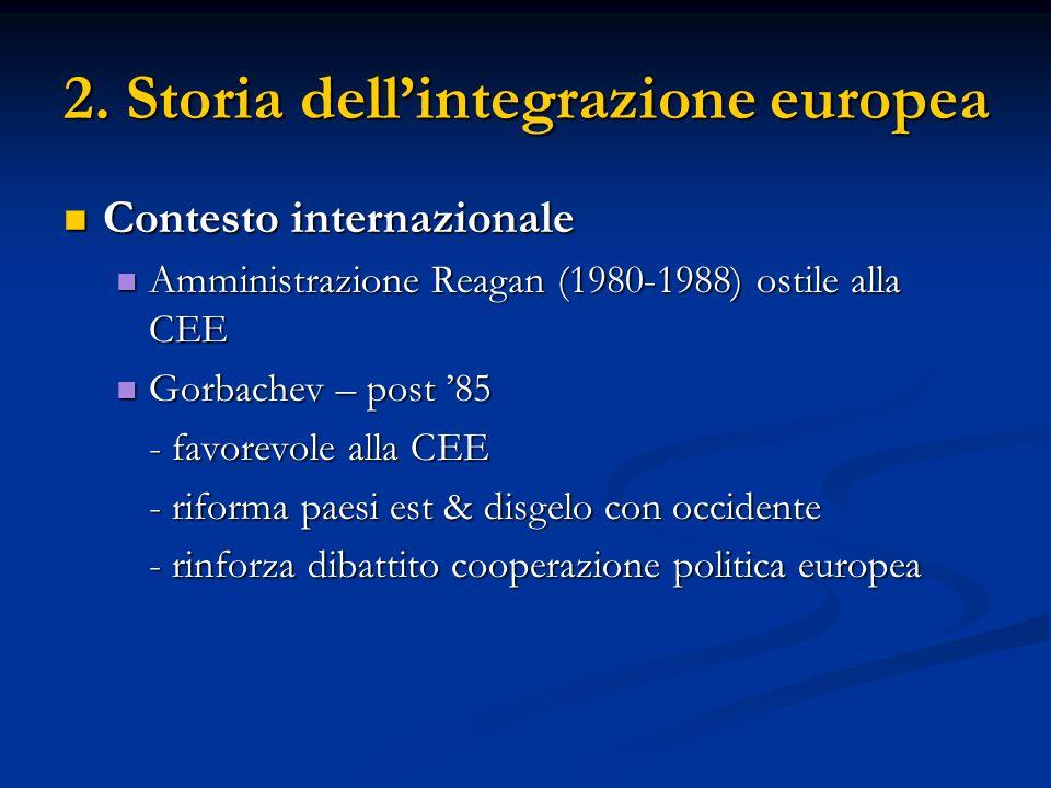 2. Storia dellintegrazione europea Contesto internazionale Contesto internazionale Amministrazione Reagan (1980-1988) ostile alla CEE Amministrazione
