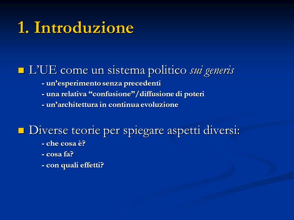1. Introduzione LUE come un sistema politico sui generis LUE come un sistema politico sui generis - unesperimento senza precedenti - una relativa conf