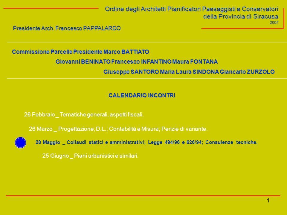 1 Ordine degli Architetti Pianificatori Paesaggisti e Conservatori della Provincia di Siracusa 2007 Presidente Arch.