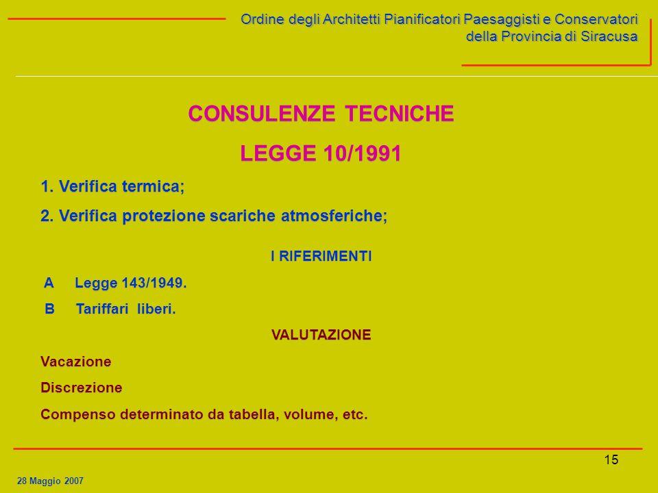 15 Ordine degli Architetti Pianificatori Paesaggisti e Conservatori della Provincia di Siracusa Ordine degli Architetti Pianificatori Paesaggisti e Conservatori della Provincia di Siracusa 28 Maggio 2007 CONSULENZE TECNICHE LEGGE 10/1991 1.