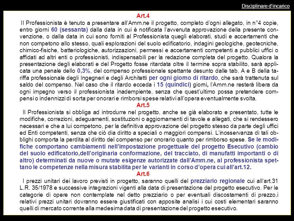 Disciplinare dincarico Art.4 Il Professionista è tenuto a presentare allAmm.ne il progetto, completo dogni allegato, in n°4 copie, entro giorni 60 (se