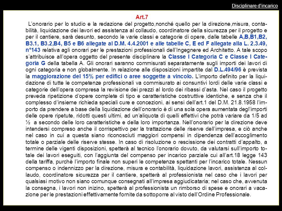 Disciplinare dincarico Art.7 Lonorario per lo studio e la redazione del progetto,nonché quello per la direzione,misura, conta- bilità, liquidazione de