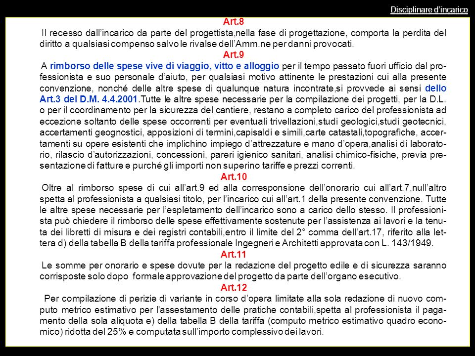 Disciplinare dincarico Art.8 Il recesso dallincarico da parte del progettista,nella fase di progettazione, comporta la perdita del diritto a qualsiasi compenso salvo le rivalse dellAmm.ne per danni provocati.