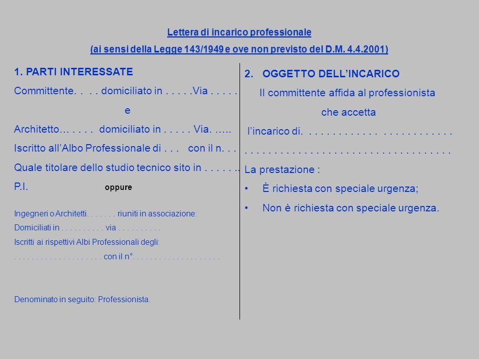 Lettera di incarico professionale (ai sensi della Legge 143/1949 e ove non previsto del D.M. 4.4.2001) Lettera di incarico professionale (ai sensi del